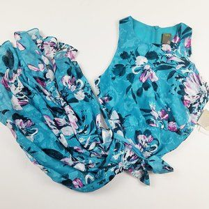NWOT Taylor Turquoise Floral Sleeveless Dress 14